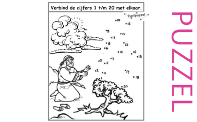 Puzzel – Exodus 1, 2, 3 – Mozes, prinses, rieten mandje, vlucht Midian, brandende braamstruik 11