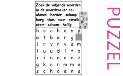 Puzzel – Exodus 1, 2, 3 – Mozes, prinses, rieten mandje, vlucht Midian, brandende braamstruik 13