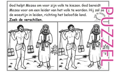 Puzzel – Exodus 1, 2, 3 – Mozes, prinses, rieten mandje, vlucht Midian, brandende braamstruik 5