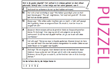 Puzzel – Numeri 13, 14, Deuteronomium 1, 8, 11 – Mozes, middelaar, Jezus, verkenners, Israël, vertrouwen, Kanaän, vergeving 6