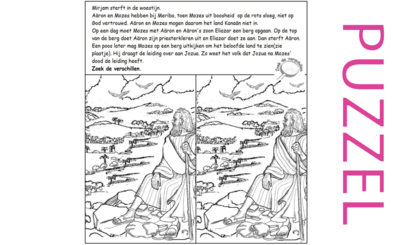 Puzzel – Numeri 20, 27, Deuteronomium 3, 10, 31 – Mirjam, Aäron en Mozes sterven, Kanaän, Eliazar hogepriester