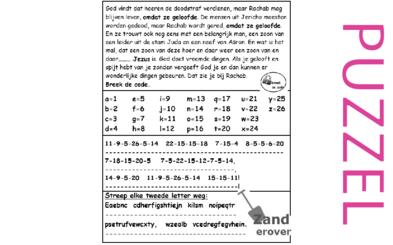 Puzzel – Jozua 2, Ruth 4, 1 kronieken 2, Mattheüs 1, Hebreeën 11, Jakobus 2 – Rachab, geloof, Boaz, Jezus, geslachtsregister