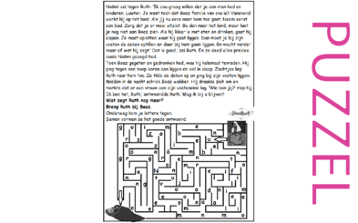 Puzzel – Ruth 3, Deuteronomium 25 – Noömi, Naomi, Ruth, Boaz, losser?? 1