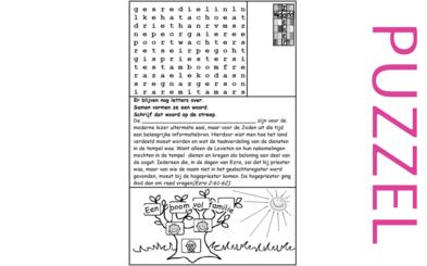 Puzzel – 1 Kronieken 6, 9, 15, 16, 23, 24, 25, 26, Exodus 6, Leviticus 10, 1 Samuël 2, 1 Koningen 1, Ezra 2 – stamboom Levi, taakverdeling 1