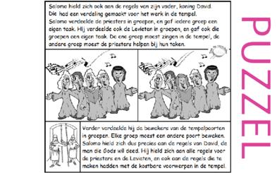 Puzzel – 1 Kronieken 6, 9, 15, 16, 23, 24, 25, 26, 2 Kronieken 8 – Taakverdeling Levieten, poortwachters, David, Salomo