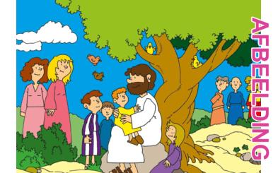 Bijbelse afbeeldingen en kleurplaten – Mattheüs 19, Marcus 10, Lucas 18 – Jezus: 'Laat de kinderen tot Mij komen.'
