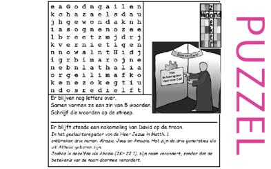 Puzzel – 1 Koningen 19, 22, 2 Koningen 8, 9, 10, 2 Kronieken 22, Mattheüs 1 – Achazja, Joram, Jehu, voorspelling Elia, Athalia, Joas