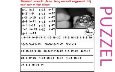 Adventspuzzel/kerstpuzzel bij Advent - waar wachten we op, Lucas 24, Mattheus 1, 27, 28
