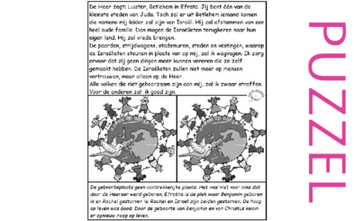 Puzzel – Micha 5 – belofte: komst Messias, vrede, straf