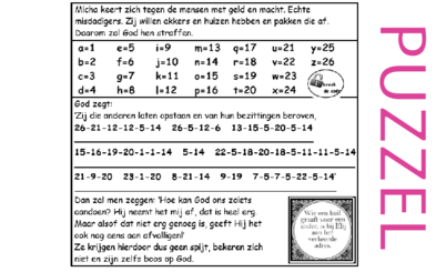 Puzzel – Micha 2 – God straft, geen bekering