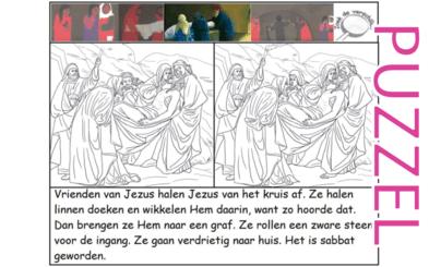 Puzzel – Mattheüs 27, Marcus 15, Lucas 23, Johannes 19 – Pasen, in het graf gelegd, zie filmpjes paasdossier