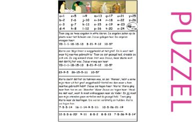 Puzzel –  Mattheüs 28, Marcus 16, Johannes 20 – Pasen, Maria ontmoet Jezus, zie filmpjes paasdossier