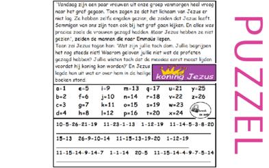 Puzzel –  Marcus 16, Lucas 24 – Pasen, Emmaüsgangers (2), geen filmpje