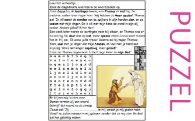 Puzzel –  Johannes 20 – Pasen, Thomas gelooft, zie filmpjes paasdossier