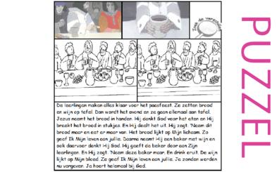 Puzzel – Mattheüs 26, Marcus 14, Lucas 22 – Pasen, het laatste avondmaal, zie filmpjes paasdossier