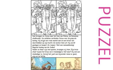 Puzzel – Mattheüs 27, Marcus 15, Lucas 23, Johannes 19 – Pasen, Jezus bespot, zie filmpjes paasdossier