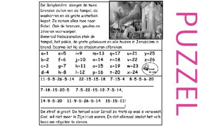 Puzzel – 2 Koningen 25, 2 Kronieken 36, Jeremia 39, 52 – tempel verwoest